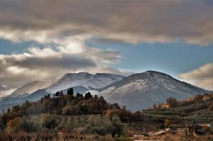 Snow covered mountains in North of Greece